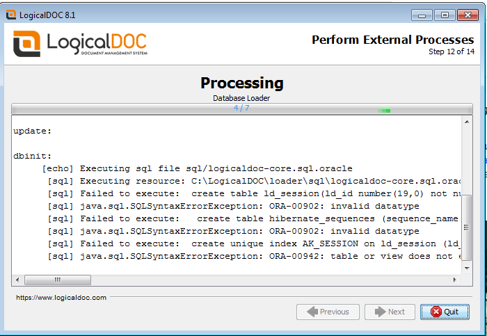 LogicalDOC-oracle Issue with Enterprise Version.png